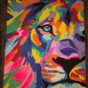 Rainbow Lion Canvas Painting